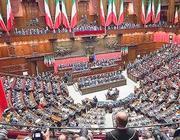 Le camere riunite in seduta comune a Montecitorio per il discorso di Napolitano