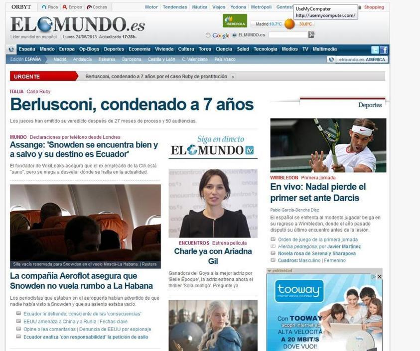 La stampa estera ha dato gran risalto alla condanna a sette anni di Silvio Berlusoni, nell'ambito del processo Ruby. Portando, in molti casi, la notizia in apertura. Come lo spagnolo El Mundo