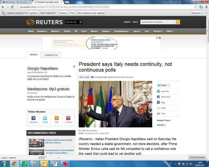 Anche sulla Reuters