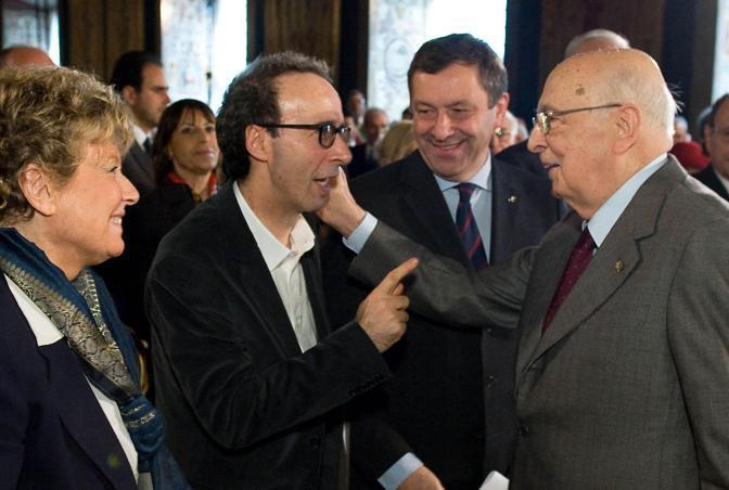 Roberto Benigni e il presidente Napolitano