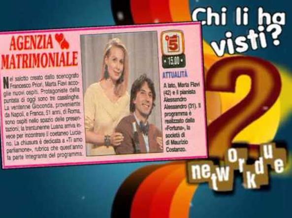 Un fotogramma del programma tv «Agenzia matrimoniale» (nella foto Marta Flavi, ex moglie di Costanzo)
