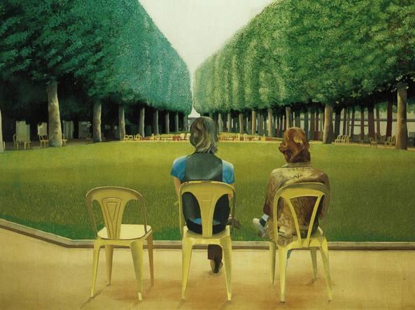 «Le parc des sources», opera del 1970 dell'artista britannico David Hockney (1937)