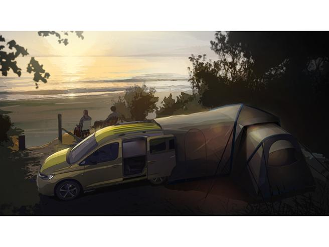 The Caddy Mini Camper with the tent installed