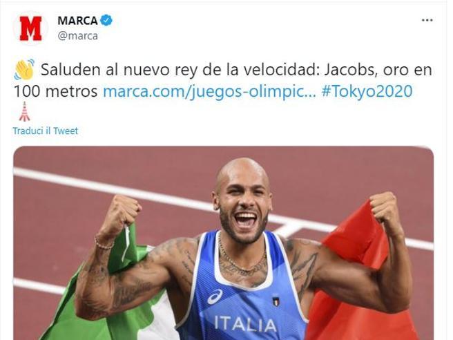 Marcell Jacobs, la medaglia d'oro nei 100 metri sui siti del mondo
