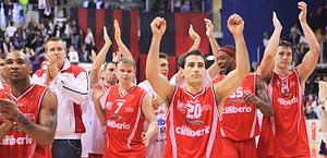 Varese festeggia la vittoria in casa di Biella. LaPresse