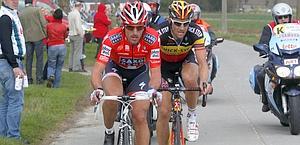 Fabian Cancellara e Tom Boonen al Giro delle Fiandre. Bettini