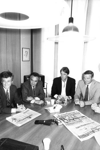 Milazzo, primo a destra con Maldini, Cannavò e Rivera