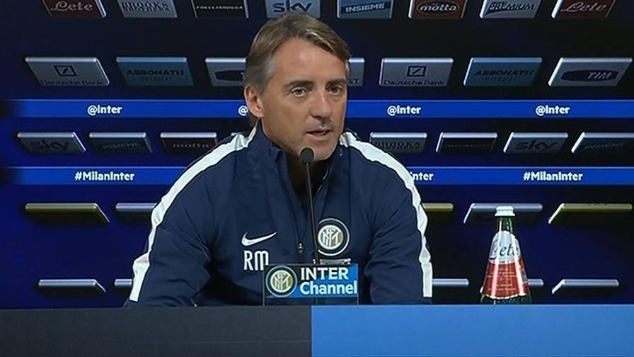 Roberto Mancini ieri durante la conferenza stampa alla vigilia del derby