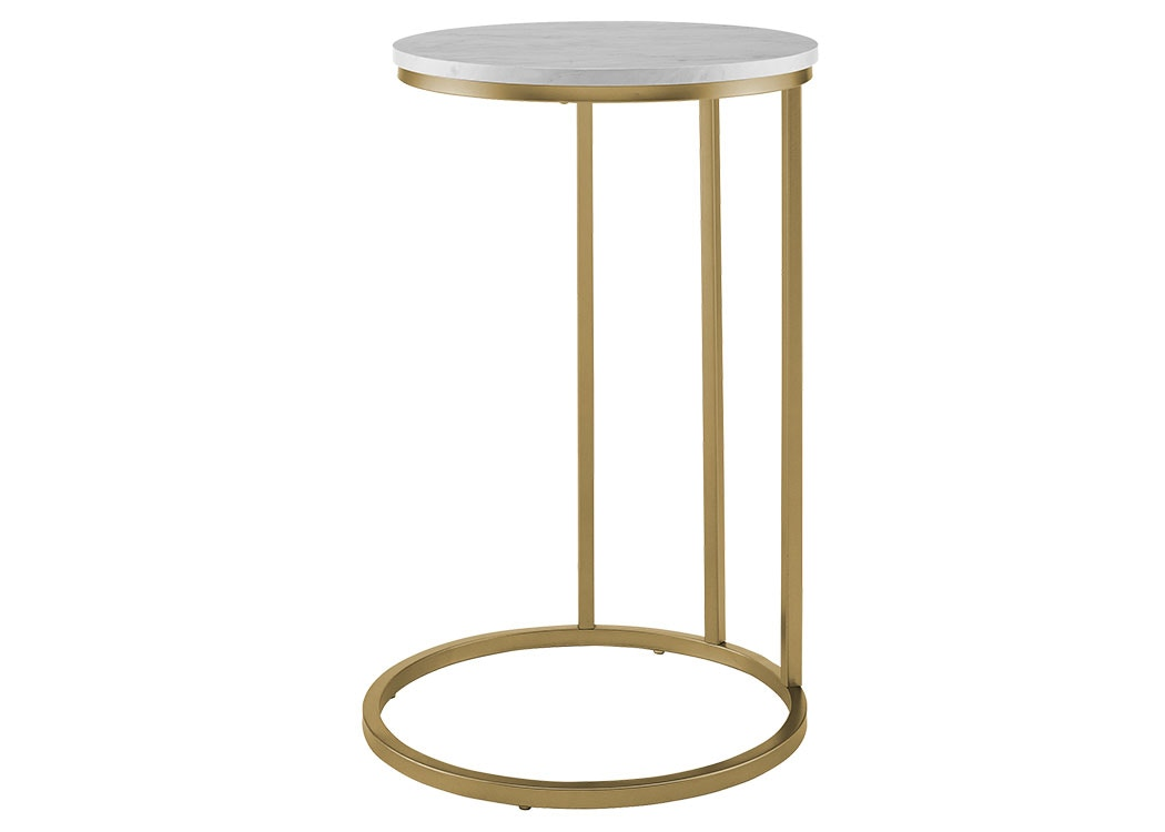 Ft Myers Bedroom 16 Modern Round C Side End Table Nightstand White Marble Top Gold Base Wedaf16rcstwm Walter E Smithe Furniture Design