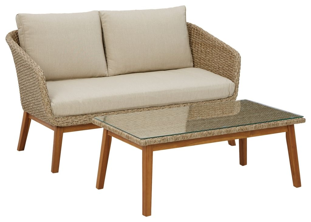 signature design by ashley outdoor patio crystal cave outdoor loveseat with table set of 2 p350 035