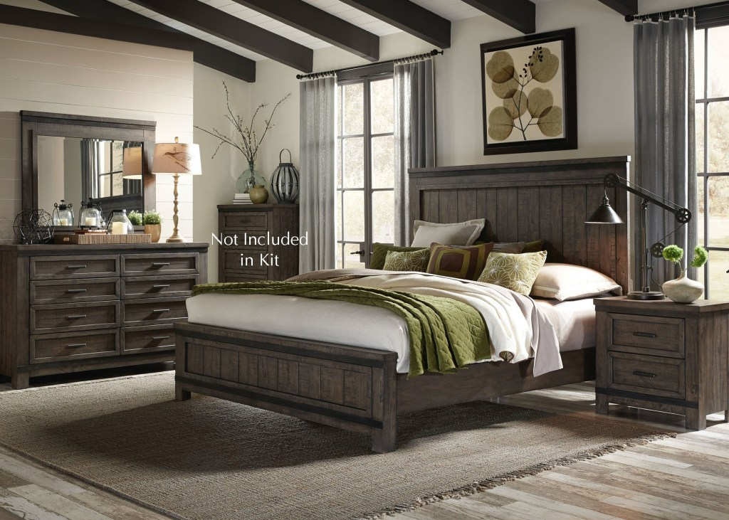 Liberty Furniture Bedroom King Panel Bed, Dresser And