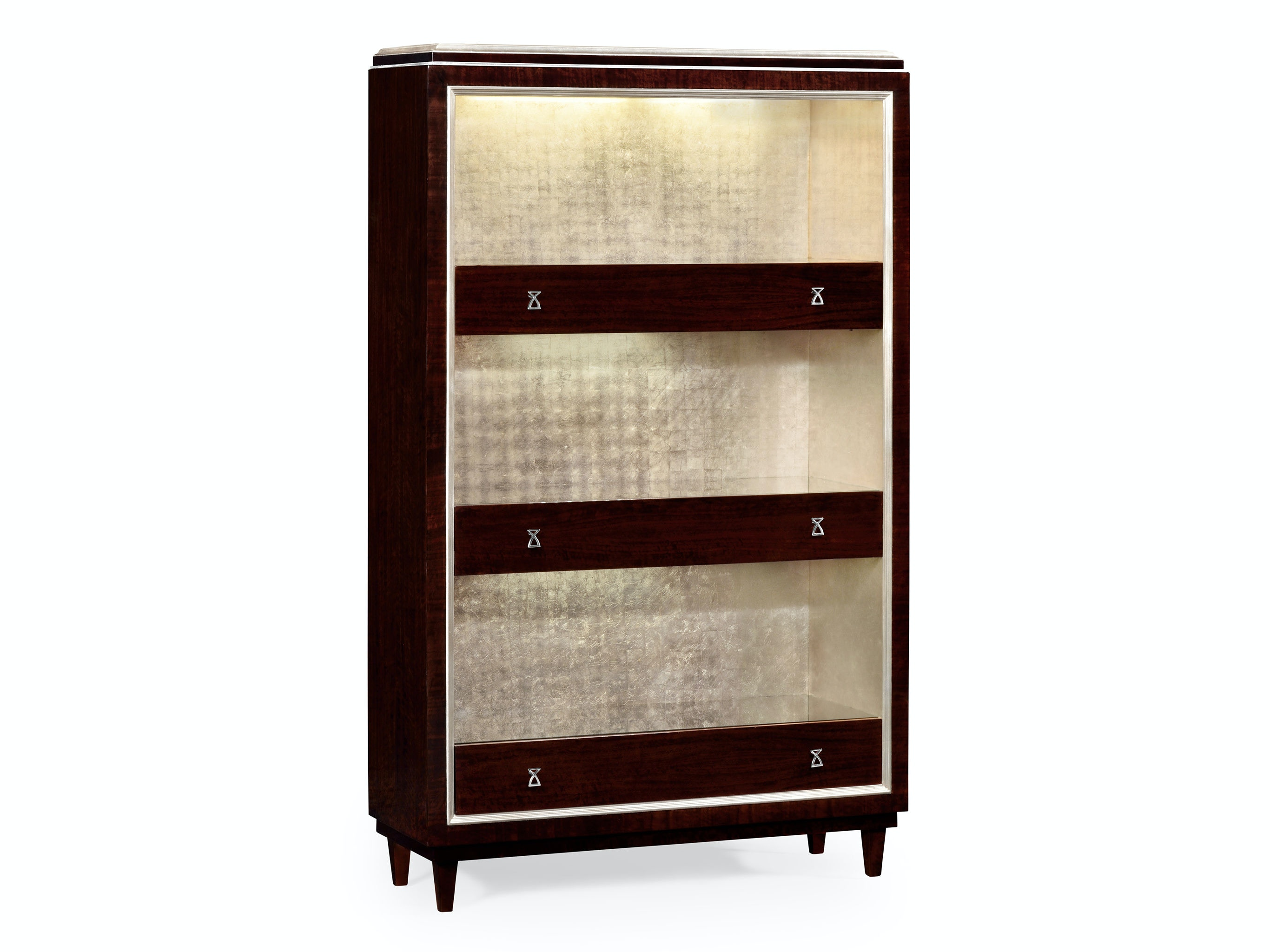 Jonathan Charles Living Room Three Shelf Bookcase With Stainless Steel Detailing Qj495548bec Walter E Smithe Furniture Design