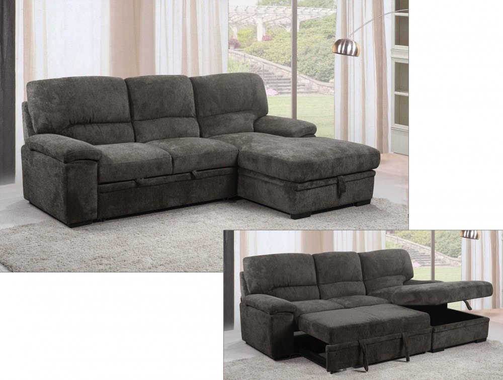 tessaro charcoal sleeper sectional w popup storage chaise