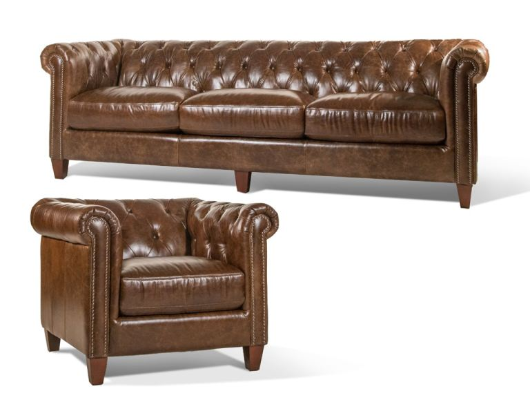 Futura Living Room Cigar Leather Sofa And Chair