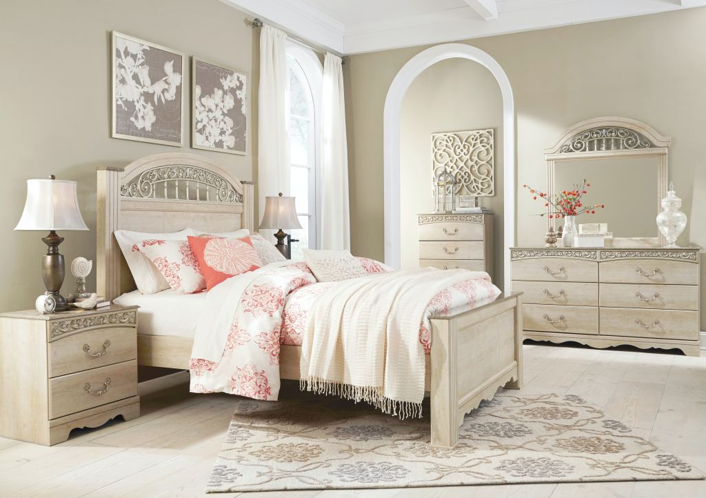 catalina cream 5pc king bedroom set includes king bed dresser mirror chest and 1 nightstand