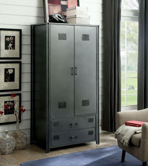 furniture of america metal armoire cm ac722 pk