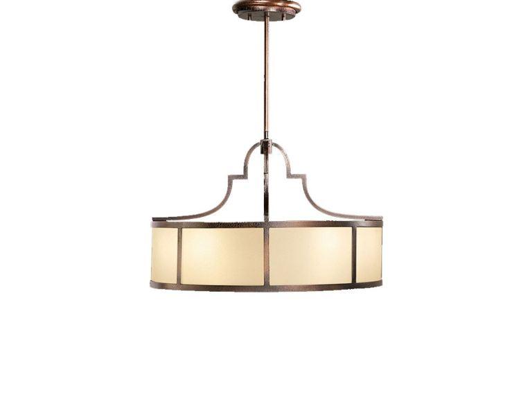 transitional tortoised bronze 3 light pendant light with ivory fabric shade