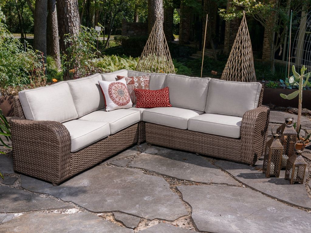 valencia driftwood outdoor wicker and canvas flax cushions 3 pc sectional group