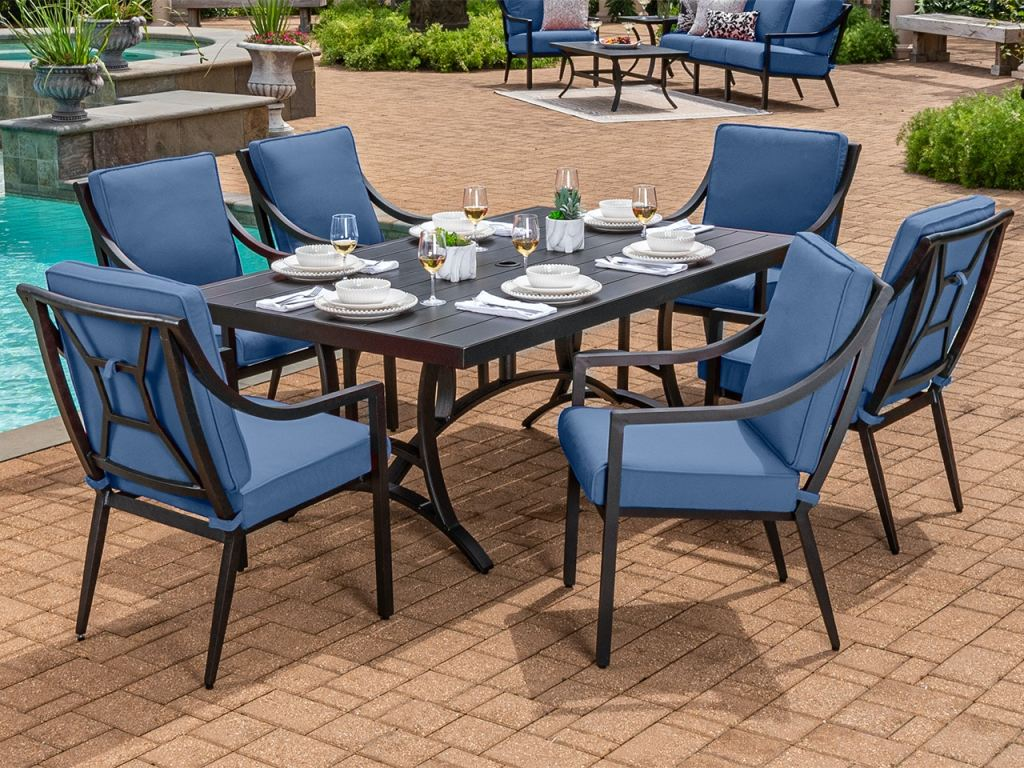 hill country aged bronze aluminum and spectrum denim cushion 7 pc dining set with 72 x 42 in dining table