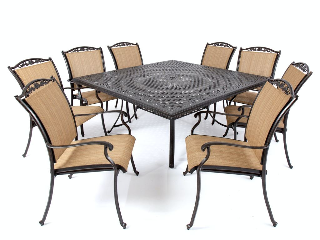 bellagio desert bronze cast aluminum and lamont curry sling 9 pc dining set with 64 x 64 in table