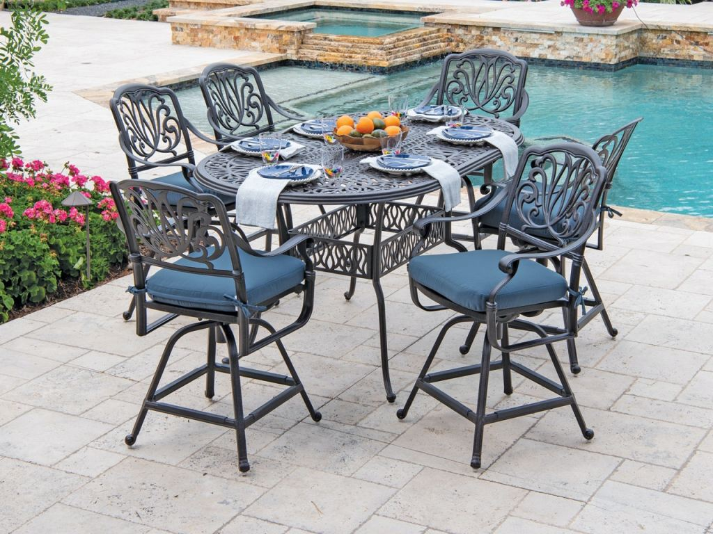 cadiz aged bronze cast aluminum 7 pc gathering height swivel dining set with 72 x 42 in dining table