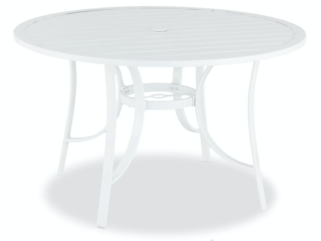 cape coral white aluminum 48 in d slat top dining table