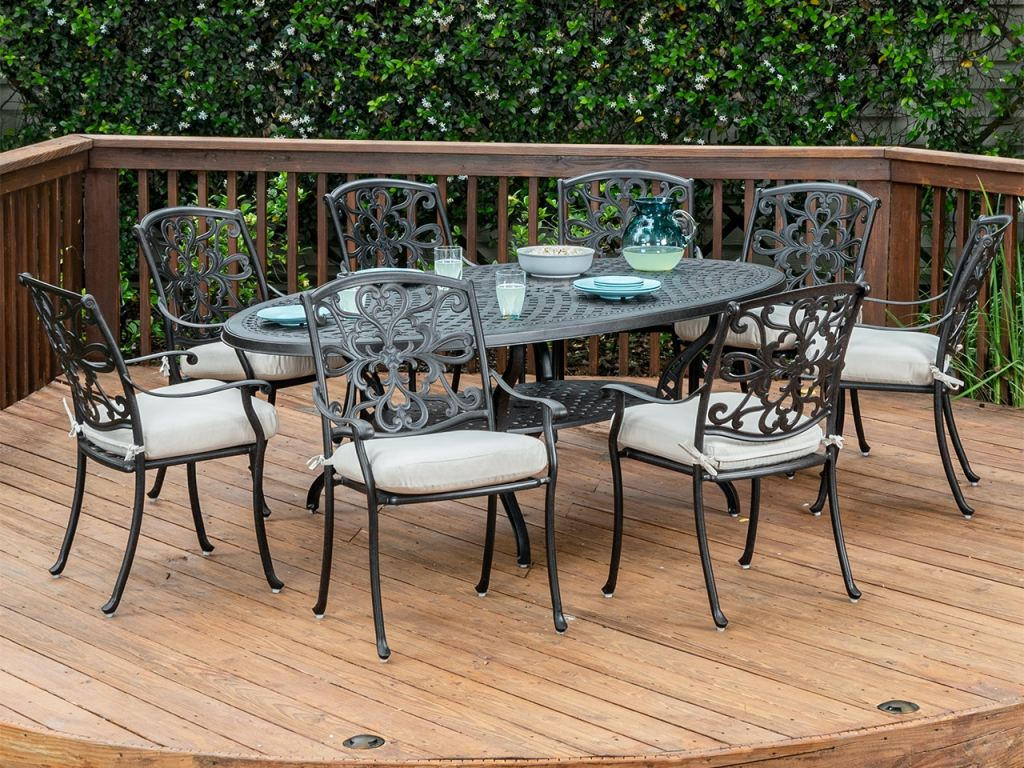 carlisle aged bronze cast aluminum 9 pc dining set with 87 x 48 in dining table