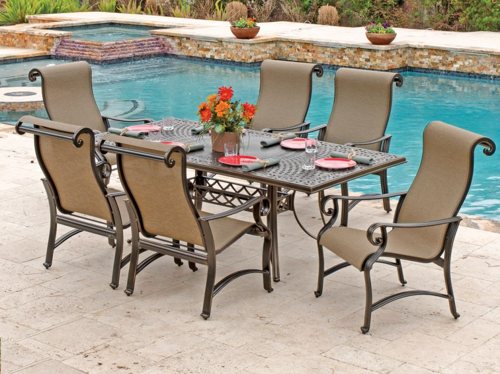 carlsbad black gold aluminum 7 pc mattox sling dining set with 84 x 42 in dining table