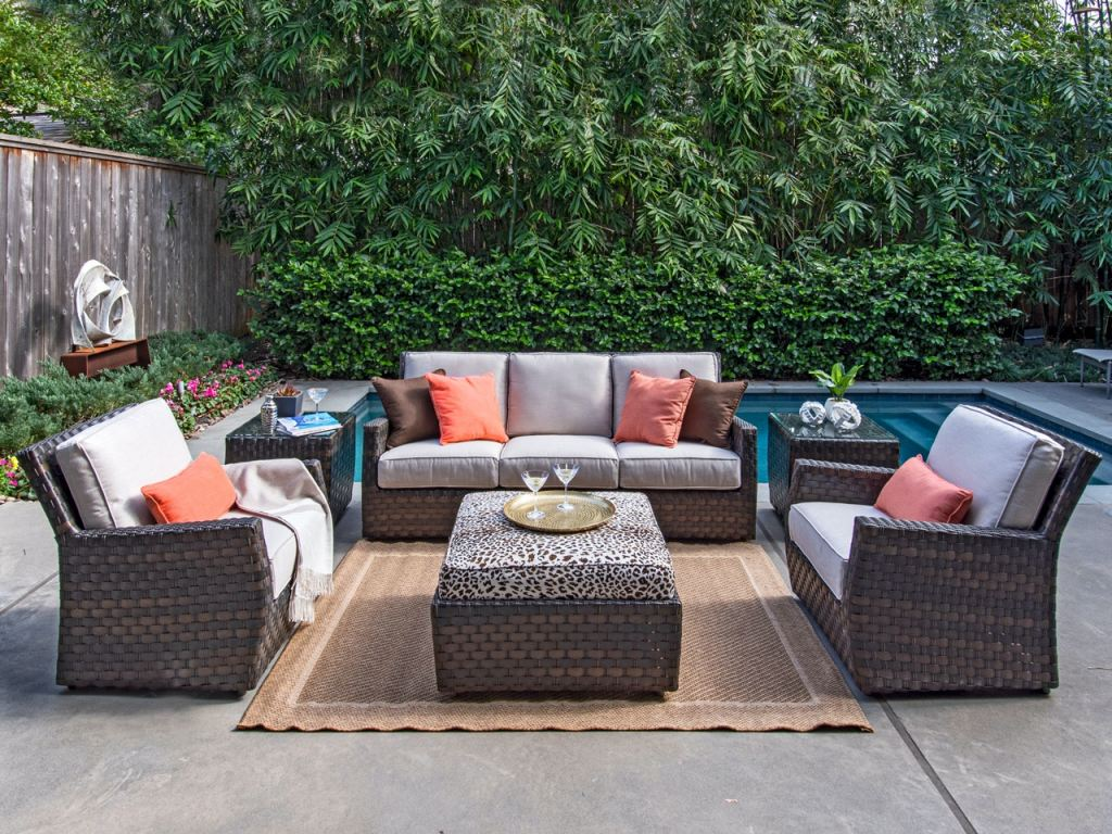 catalina cigar outdoor wicker and valor putty cushion 4 pc sofa group with 35 in instinct espresso ottoman coffee table