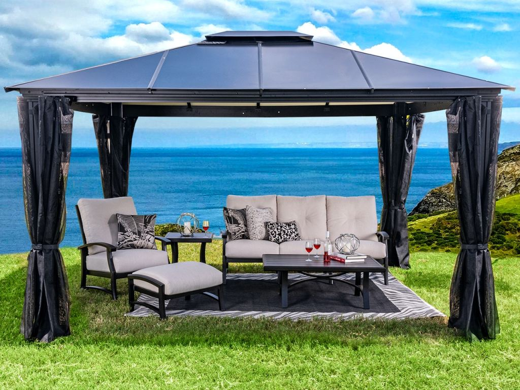 monterey 12 ft x 16 ft aluminum hard top gazebo with privacy panels and mosquito netting