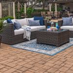 Living Room Modena Aspen Outdoor Wicker 3 Pc Cast Pumice Cushion Sofa Seating With 32 X 32 In