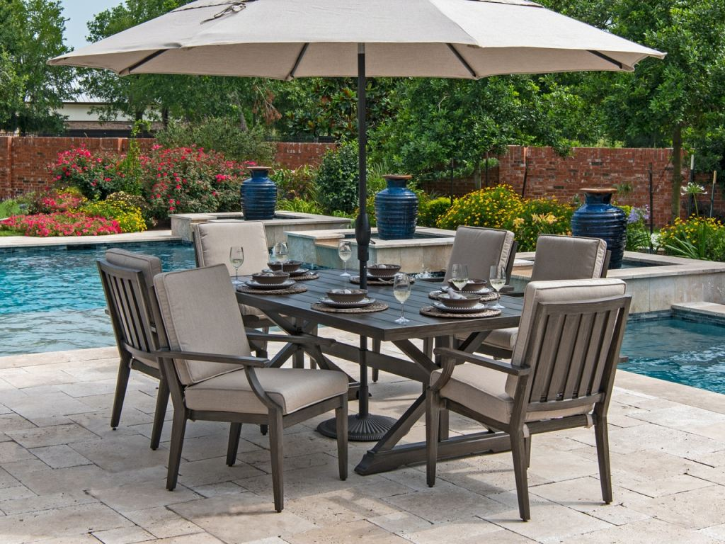 monaco weathered teak aluminum 7 pc cast ash cushion dining set with 84 x 44 in dining table