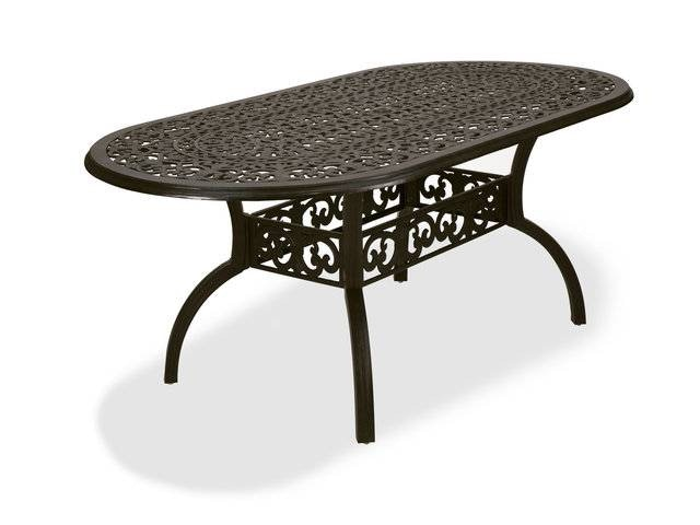 milan aged bronze cast aluminum 84 x 42 in dining table