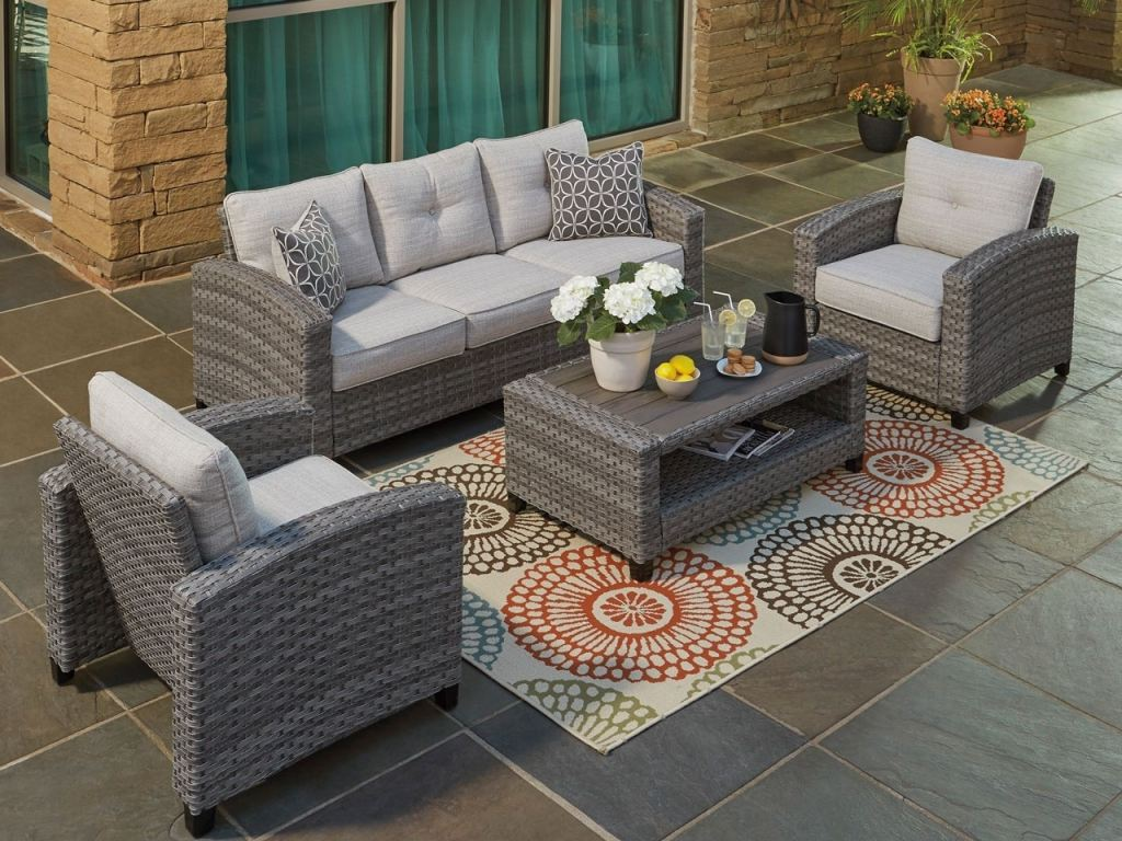 salerno weathered teak outdoor wicker and grey linen cushion 4 pc sofa group with 44 x 25 in storage coffee table