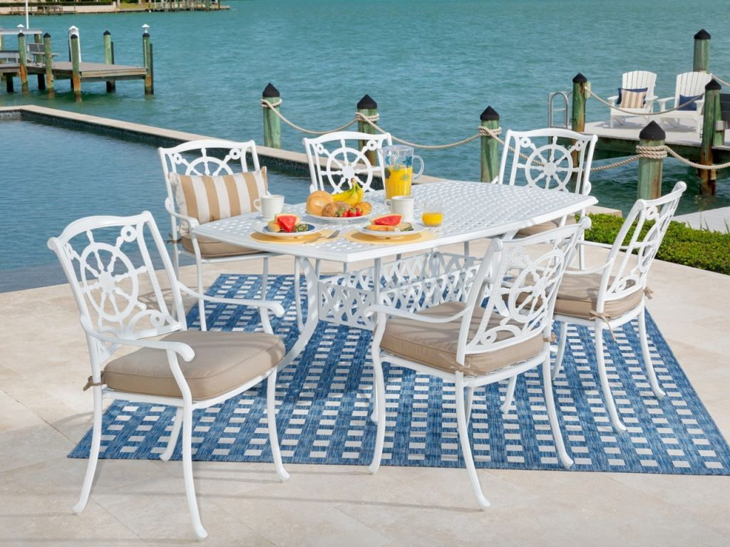 yacht club matte white cast aluminum 7 pc dining set with 72 x 42 in dining table