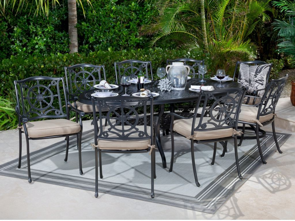 yacht club matte black cast aluminum 9 pc dining set with 87 x 48 in dining table