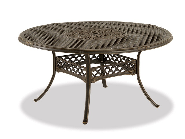 bordeaux golden bronze cast aluminum 60 in dining table with inlaid lazy susan