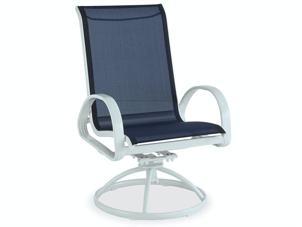 cape coral white aluminum and navy sling swivel rocker