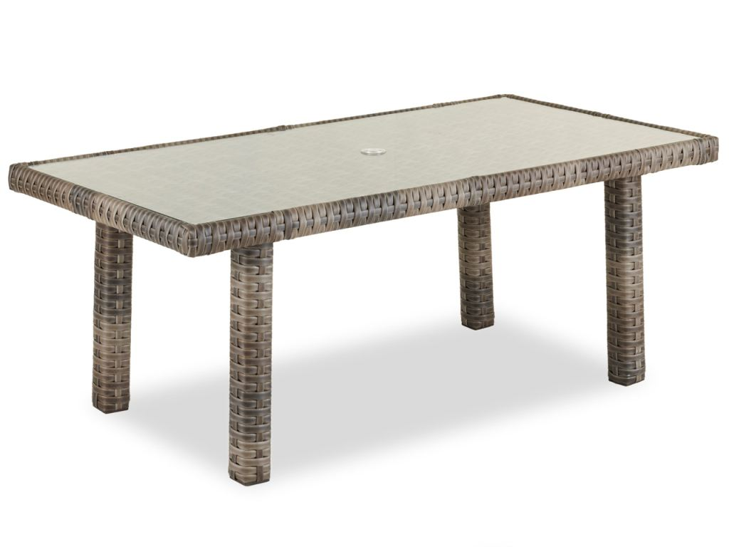 contempo husk outdoor wicker 65 x 34 in glass top lounge dining table