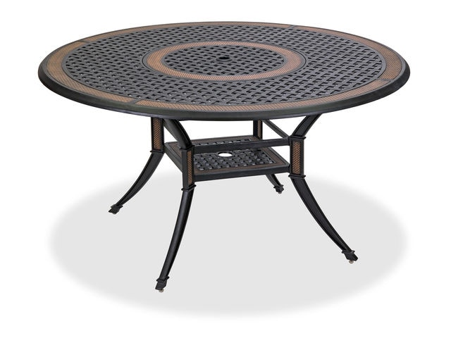 lexington golden mist cast aluminum 54 in round dining table with inlaid lazy susan