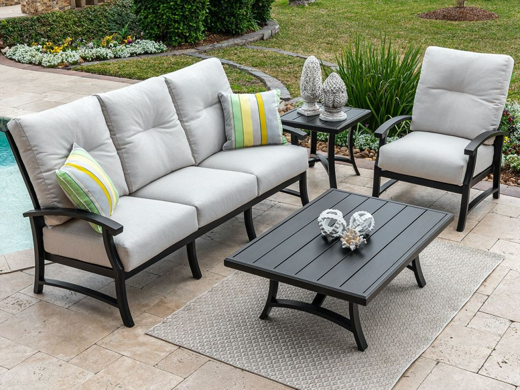 lodge aged bronze aluminum and essential flax cushion 3 pc sofa group with 48 x 32 in coffee table