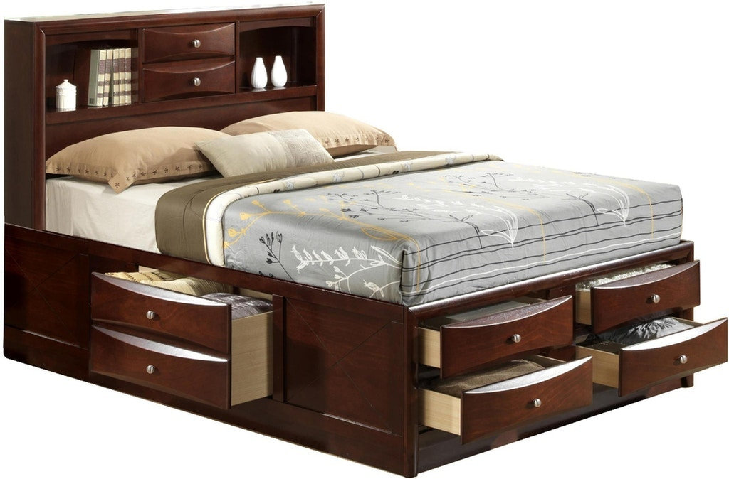 Shop Our Emily Queen 7 Drawer Bookcase Storage Bed By Elements International Em200qbed Joe