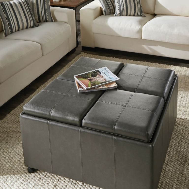 clearance bar and game room square ottoman with trays and mini ottomans nv942gapust clr walter e smithe furniture design