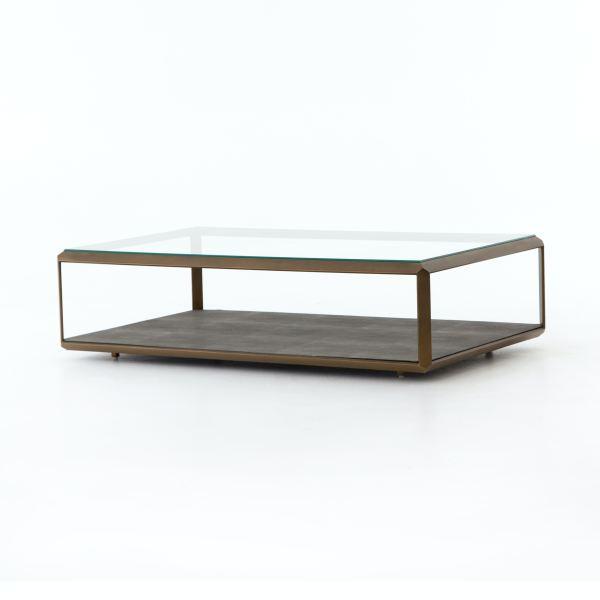shagreen shadow box coffee table brass