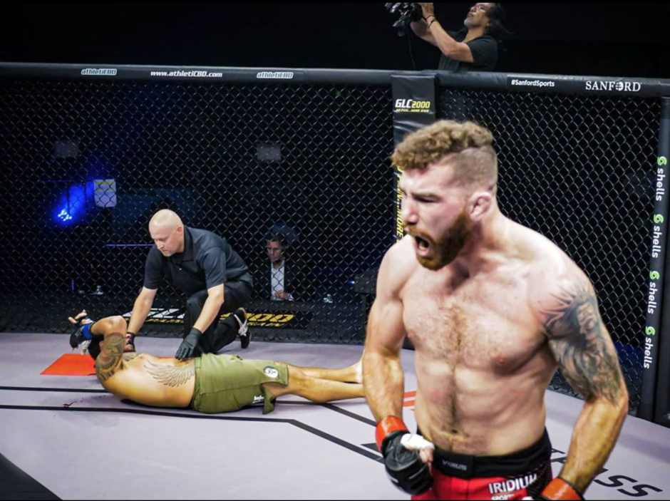 Watch Josh Fremd flatline his opponent with back-to-back knees (Video)