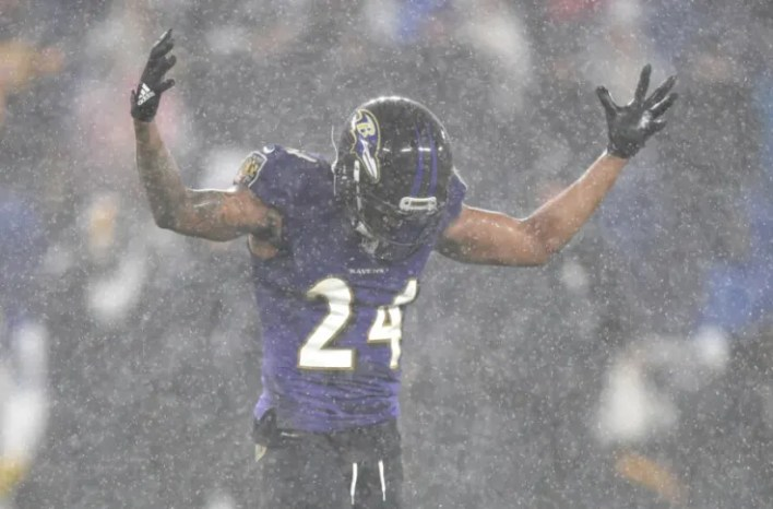 Baltimore Ravens cornerback Marcus Peters. (Mitchell Layton-USA TODAY Sports)