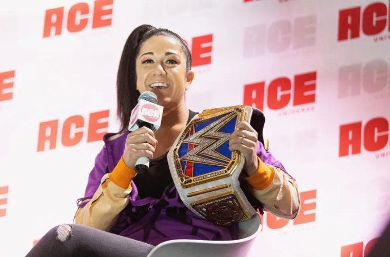 SEATTLE, WA - JUNE 28: WWE SmackDown Champion Bayley speaks onstage during ACE Comic Con at Century Link Field Event Center on June 28, 2019 in Seattle, Washington. (Photo by Mat Hayward/Getty Images)