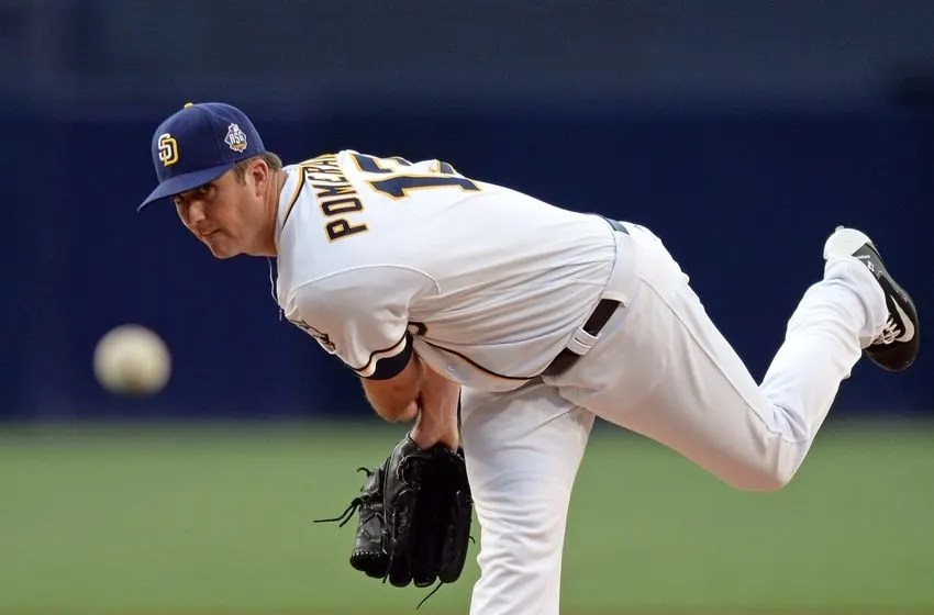 Jul 2, 2016; San Diego, CA, USA; San Diego Padres starting pitcher Drew Pomeranz (13) pitches against the New York Yankees during the first inning at Petco Park. Mandatory Credit: Jake Roth-USA TODAY Sports