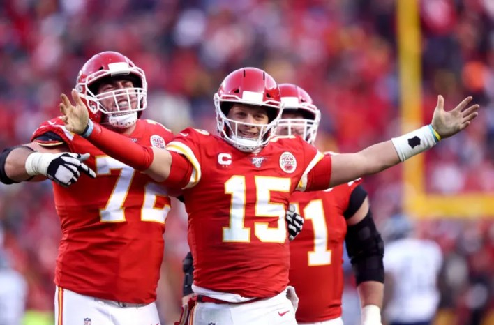 Eric Fisher, Patrick Mahomes, Mitchell Schwartz, Kansas City Chiefs. (Photo by Jamie Squire/Getty Images)