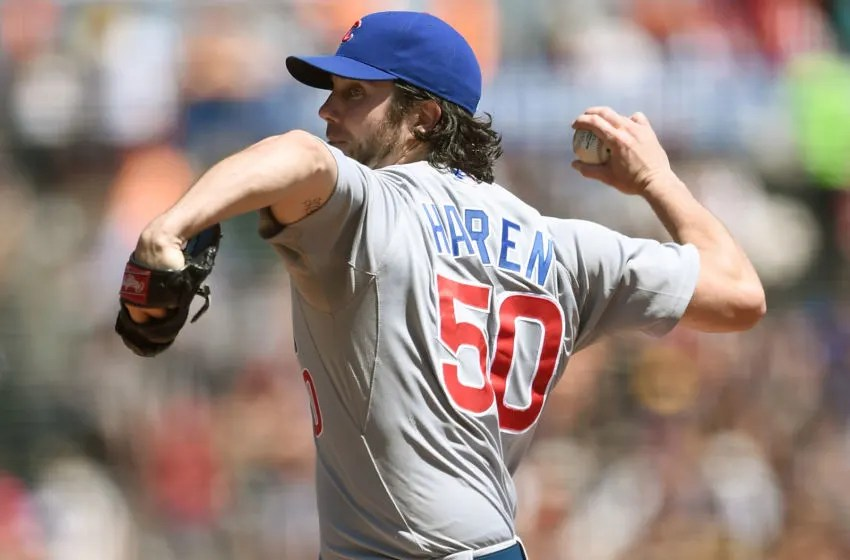 SAN FRANCISCO, CA - AUGUST 27: Dan Haren #50 of the Chicago Cubs pitches against the San Francisco Giants in the bottom of the first inning at AT&T Park on August 27, 2015 in San Francisco, California. (Photo by Thearon W. Henderson/Getty Images)
